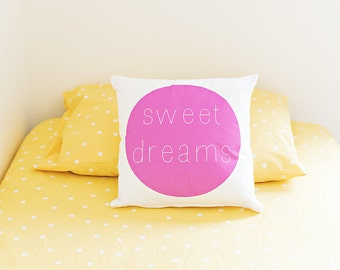 Nursery Decor, Throw Pillow, Home Decor, Sweet Dreams Pillow, Modern Kids Pillow, Kids Decor