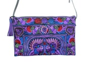 Cross Body Bag With Suede Leather Zipper Pull Genuine Leather Removable Strap Hmong Embroidered Fabric  (BG811LS951-PUB)