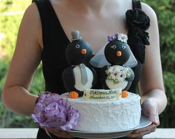 "Penguin wedding cake topper - love birds with banner, BIG 5"" tall, black and white wedding"