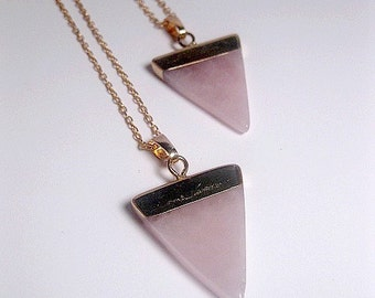 Rose Quartz Triangle Necklace - Crystal Quartz Necklace - Rose Quartz Pendant - Natural Stone - Healing Stone - Christmas Gift
