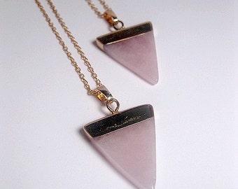 Rose Quartz Triangle Necklace - Crystal Quartz Necklace - Rose Quartz Pendant - Natural Stone - Healing Stone