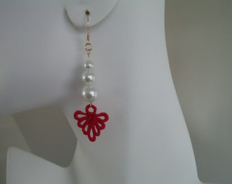 Red Lace Charm and Ivory Pearl Earrings