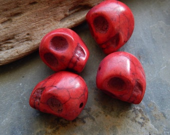 18X17mm Red Synthetic Howlite Skull Beads, 4 PC (INDOC188)