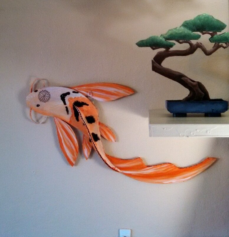 Cardboard sculpture swimming orange koi wall art for Koi wall decor
