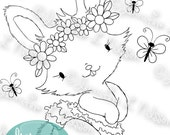 Hoppy Spring - digital stamp digistamp JPG PNG - bunny rabbit butterfly girl line art for crafting