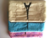 Eiffel Tower Zipper Pouch, Cosmetic Bag, Color Choices: Muslin, Blue, and Pink