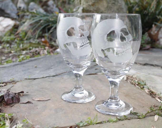 wine glasses skulls set of two hand engraved glass water goblets , custom barware  gift ideas Halloween skull goblets