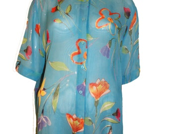 Vintage Sheer Floral Blouse- pastel Button Up Shirt -Sheer - Slouchy - Beach coverup - XL Large