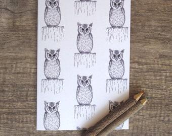 Owl Notebook, sketchbook, jotter, notepad, doodle pad, illustrated notebook.