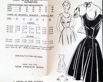 "Vintage 1950s Fashion Service Mail Order Dress Jumper Blouse Pattern 3082 Size 10 (28"" Bust)"