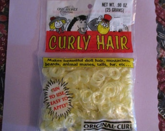 Curly Doll Hair One & Only Original Curl Vintage Dated package 1990 Sunshine Yellow Blonde
