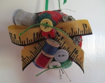 Vintage Handmade Pincushion Decoration Red Tomato decorated with Sewing Buttons, Snaps and other Sewing Notions - Sewing Tool