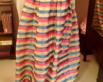 Vintage Pink Teal Yellow White Plaid Taffeta Lined Maxi Worn Skirt Size 12