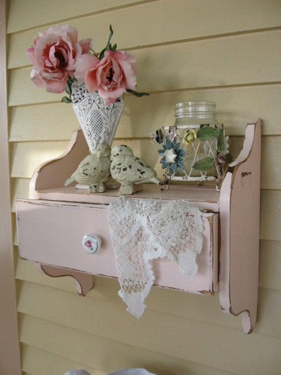 shabby chic pink wall shelf with drawer vintage hanging wall. Black Bedroom Furniture Sets. Home Design Ideas