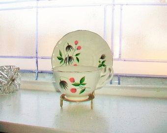 Mayfair Tea Cup and Saucer Thistles Vintage Bone China Made in England