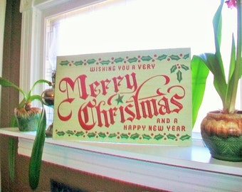 Vintage Merry Christmas Store Sign 1950s 22 x 14 Unused Old Store Stock