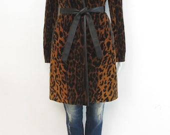 Vintage MINIMAL Animal Print Trench Coat with Glove Leather Trim