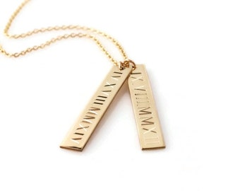 ROMAN numeral necklace Personalized nameplate vertical gold bar layering pendant necklace   custom engraved with dates or GPS coordinates