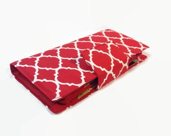 Credit Card Holder, Credit Card Wallet, Credit Card Case, Women's Bi fold Wallet, Red Wallet, Quatrefoil card holder