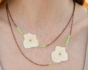 Natural Flower Jewelry - White Hydrangea Pressed Flower Petal Necklace with Jade Glass Beads