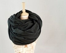 Oversized Infinity Scarf, Chunky Scarf Dark Grey Gray Jersey Cowl Scarf, Extra Large Nomad Circle Shawl Scarves, Hooded Gift for Her Wife