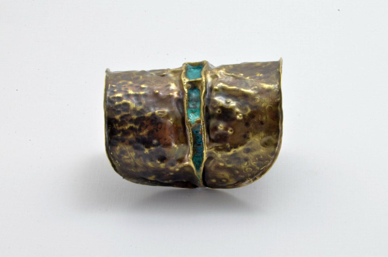 Artistic Fold Formed Hammered Brass Cuff Bracelet