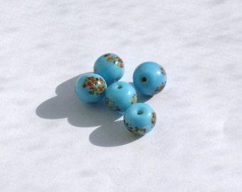 Turquoise Splatter Millefiori Japanese Lampwork Glass Vintage Beads ct 20