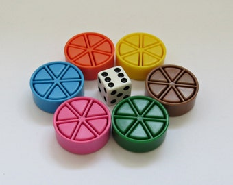 Vintage Trivial Pursuit Game Pieces - 6 Pies - 36 Pie Pieces or Wedges - 1 Die - 1 Original Bag