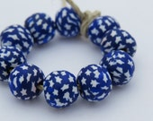Blue and white beads, Star beads, handmade beads, unique beads, blue star beads, blue beads, round beads, clay beads, polymer clay beads.
