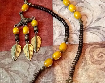 Vintage African Chunky Beaded Amber And Brass Necklace