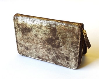 Gold & Chocolate Leather Wallet