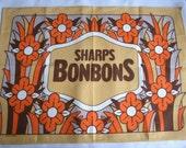 Fun Vintage Retro 70s Tea Towel Sharps Bonbons Orange Beige Brown Groovy Floral Linen