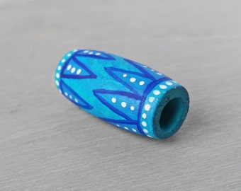 Dread Bead - Wooden Turquoise Dreadlock Bead - Wood Hand Painted Hair Bead - Teal Tribal Dread Bead