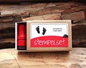 Stempelset Fußabdruck // 2 Ministempel Stempel