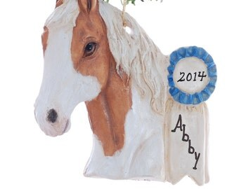 Personalized Christmas Ornament Palomino Horse with Blue Ribbon - personalized free with your name and or year - handmade in the USA  (h120)