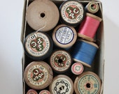 Vintage Threads Cottons blues pinks blacks with wooden spools