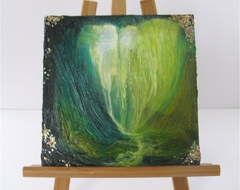 """Small 8"""" x 8"""" Original Painting Green with Gold Flake"""
