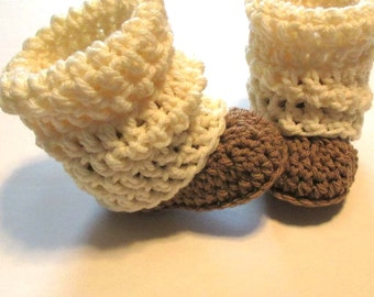 Infant, toddler, child size crochet booties, slippers, boots with legwarmers.  Made to order.  Brown and cream.