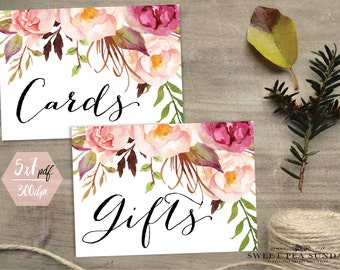 INSTANT DOWNLOAD - 5x7. Printable Cards Sign.  Gift Sign. DIY, Wedding Ceremony, Guest Book Sign, Cards Box Sign Classic Wedding