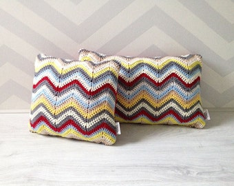 SALE!! Crochet chevron pillows - set of 2 multi color zig zag ripple cushions