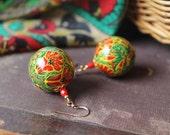 Folk style Earrings Flower Earrings Painted Wooden Earrings Colorful Earrings Red Green Earrings Wooden Jewelry Russian Style MADE TO ORDER