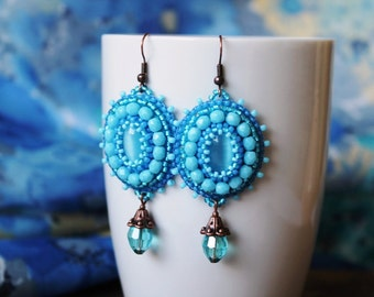 Light Blue Earrings Bead embroidery Earrings Beadwork earrings Blue Dangle Earrings Cabochon Earrings Embroidery jewelry Blue Jewelry