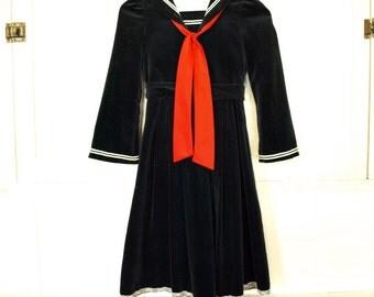 Vintage girls navy blue velvet sailor dress plus sailor top youth size M girls 7
