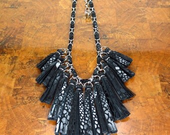 Black Leather Tassel Necklace/ Statement Necklace/ Black Necklace/ Black Fringe/ Tribal/ Christmas Gift/ Holiday Jewelry/ Ready to Ship