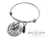 Stamped Jewelry Personalized Jewelry MINI VERSON My Heart Belongs To A Police Officer Firefighter Cop Hero Marine Soldier Bangle