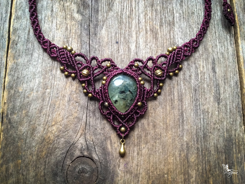 backorder macrame necklace bohemian tiara prehnite boho chic