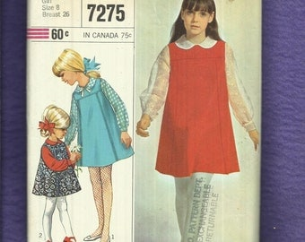 Vintage 1960's Simplicity 7275 Mid Century Girl's A-Line Jumper & Blouse Sizes 8
