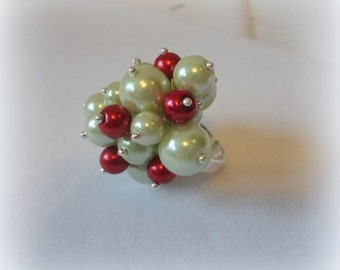 Merry Christmas Pearl Cluster Adjustable Ring, retro, chunky, bubble