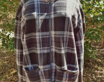 Ladies Black Plaid Jacket, Size Large, Premier International Zip Up Coat