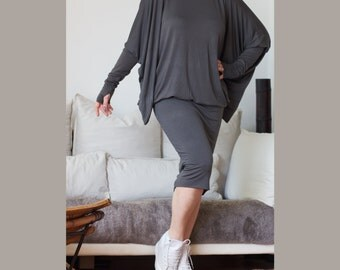 Oversize Butterfly Dress / Wide Tunic / Loose Fit  Dress/ Turtle Neckline Dress / Dark Grey